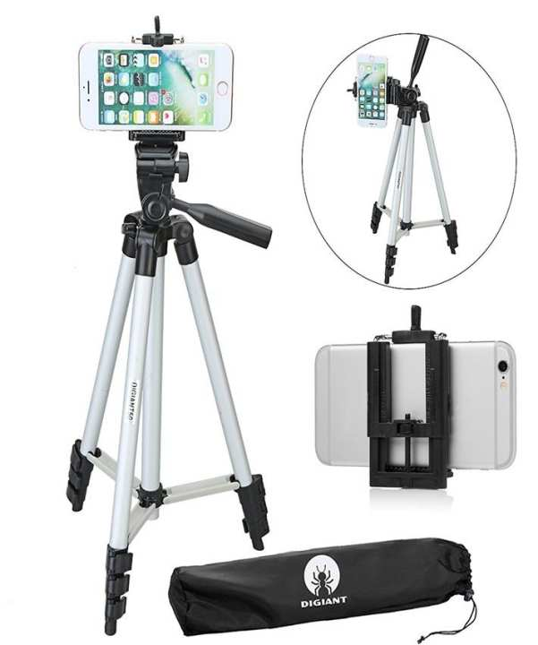 50 Inch Phone Tripod, Aluminum Camera iPhone Tripod with Universal Tripod Phone Mount, Carrying Bag Included