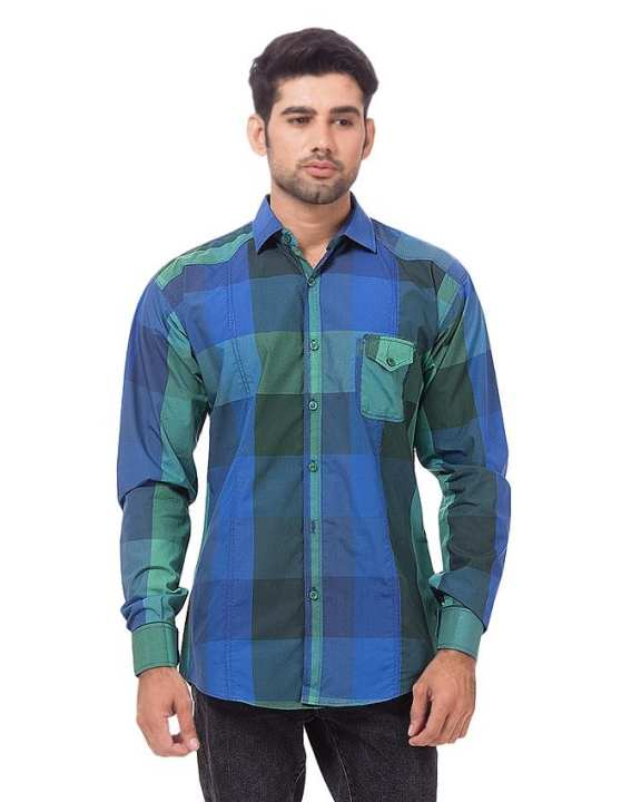 Green & Blue Casual Slim Fit Shirt - BU-184