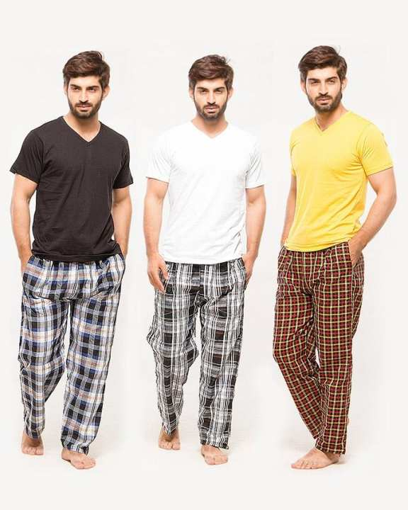 Multicolour Cotton Bundle of 3 Tshirt and 3 Pajama For Men