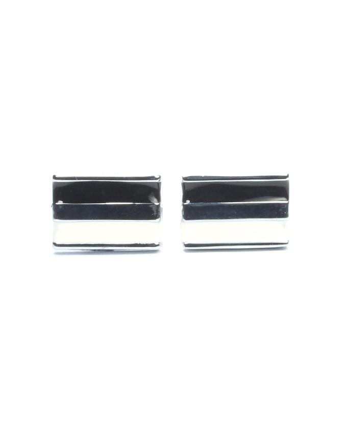Silver & Black & White Alloy Cufflinks for Men - CU-0183 - Executive Collection