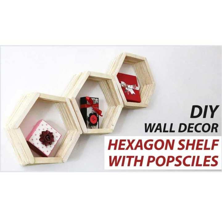 Wall Decor Hexagon Shelf With Popsciles
