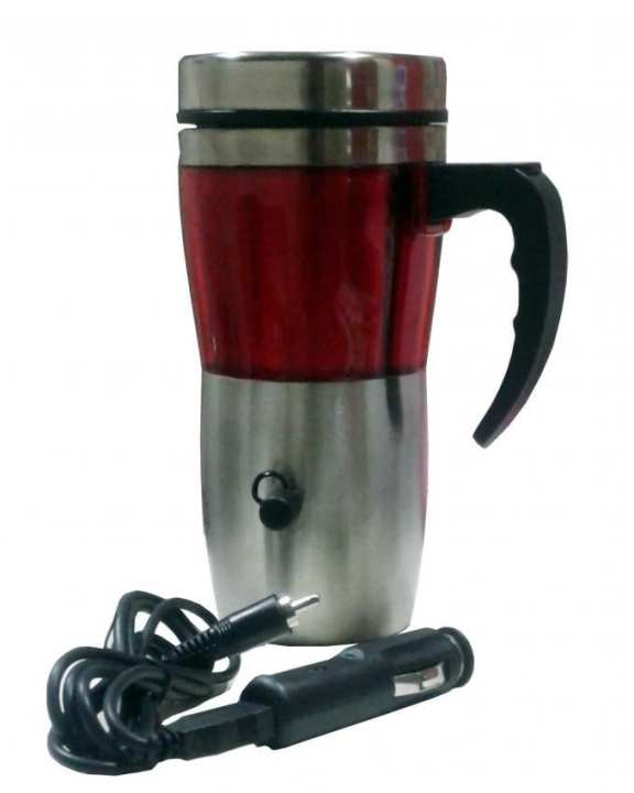 Electric Heated Travelling Mug - 12 V - Silver & Red