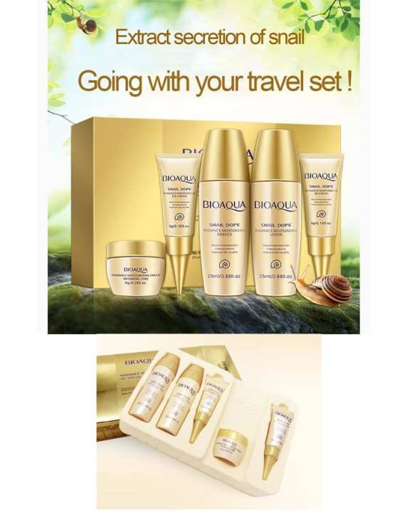 Bioaqua 5Pcs Set Snail Dope Moisturizing Whitening Skin Care Relieve Skin Comp Travel Pack Face Cream Bb Cream Facials Beauty