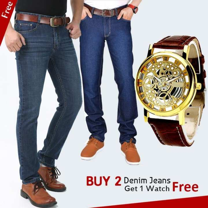 Pack of 3 – Blue Denim Jeans & Brown Leather Watch For Men