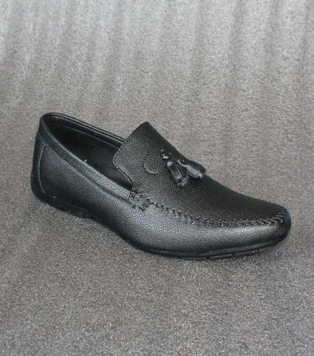 Black Rexine Casual Shoes For Men