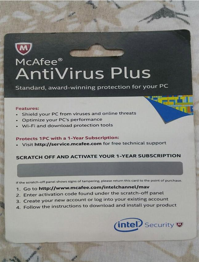McAfee Antivirus Activation Key Card - Yearly Subscription