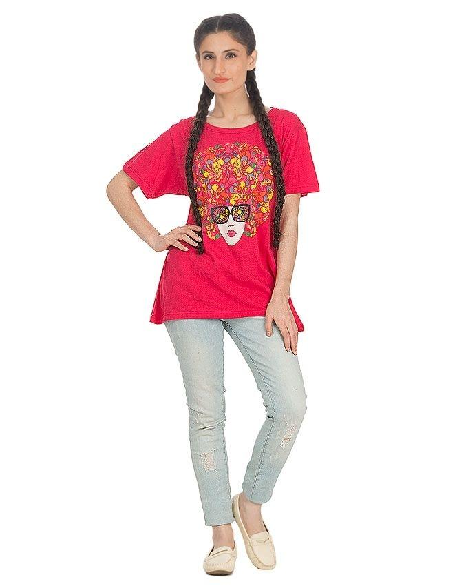 Pink Cotton Printed T-Shirt For Women