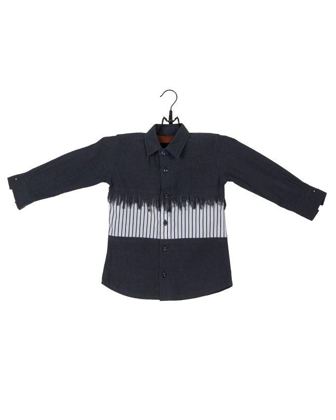 Dark Blue Cotton Denim Buttondown Shirt with Mid-section Stripes for Boys -