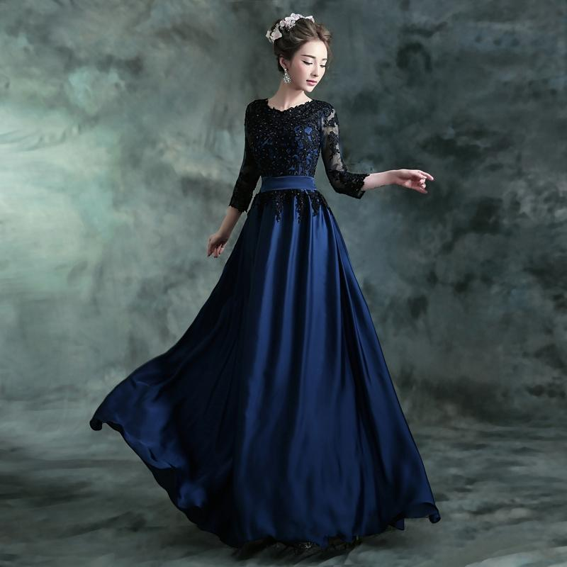 Evening Maxi Dress Blue With Beats