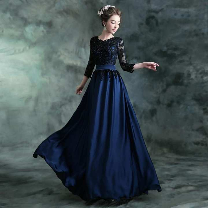 Evening Maxi Dress Blue With Beats
