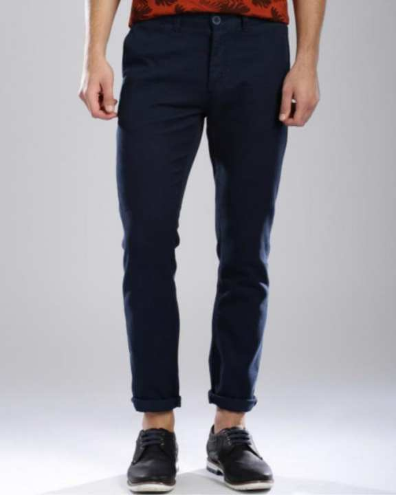 Navy Blue Cotton Chino Pant for Men