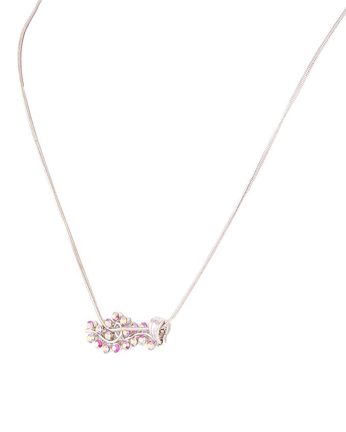 Silver & Pink Alloy Pendant with Tops for Women - SAN00275