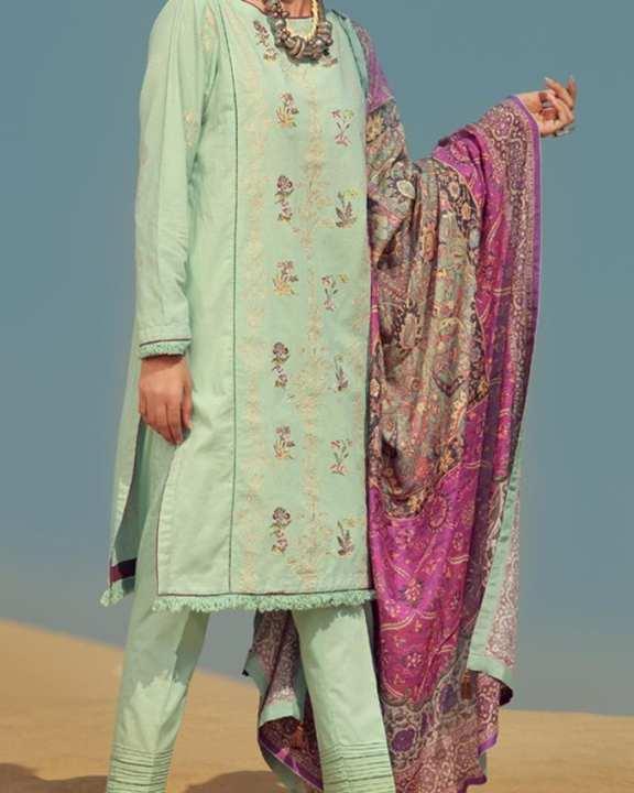 Aqua Khaddar 3 Pc Unstitch Suit-Winter Collection Vol.04
