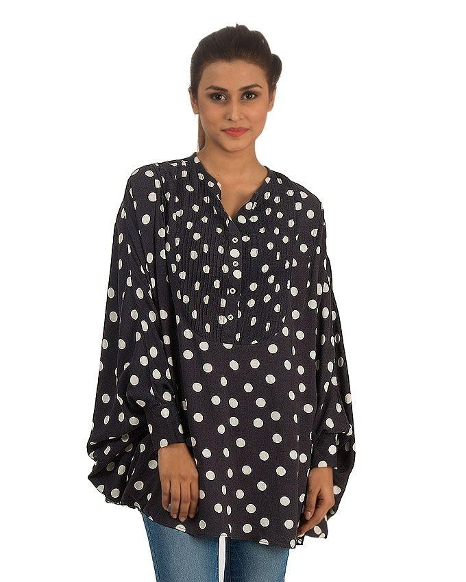 Dark Blue Cotton Linen Spotted Tunic with Pleated Front & Full Sleeves for Women