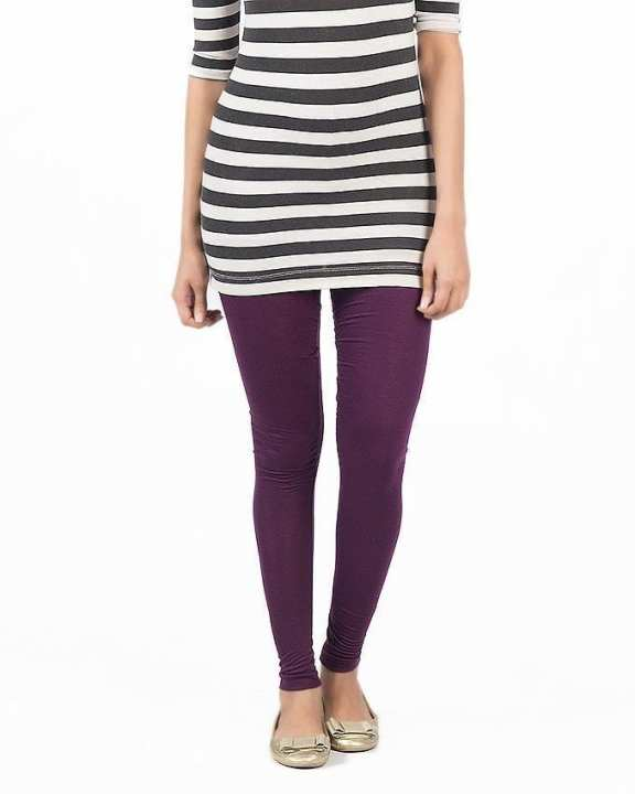 Purple Jersey Skin Fitted Tights For Women - FA0288