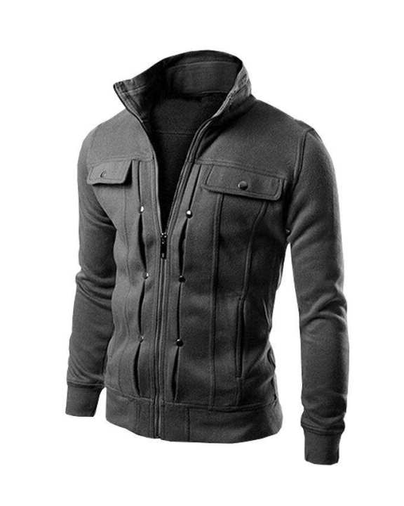 Charcoal Fleece Royal Jacket For Men