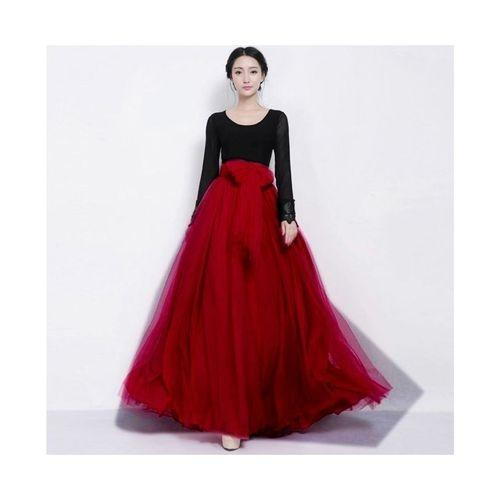 0eeb940de3ad Red Net   Silk Maxi Skirt For Women