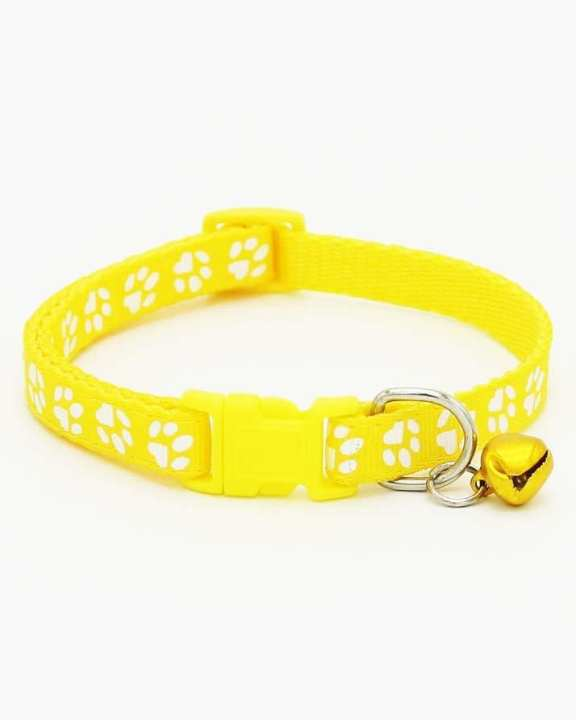 Cat Collar With Bell Necklace Buckle - Yellow