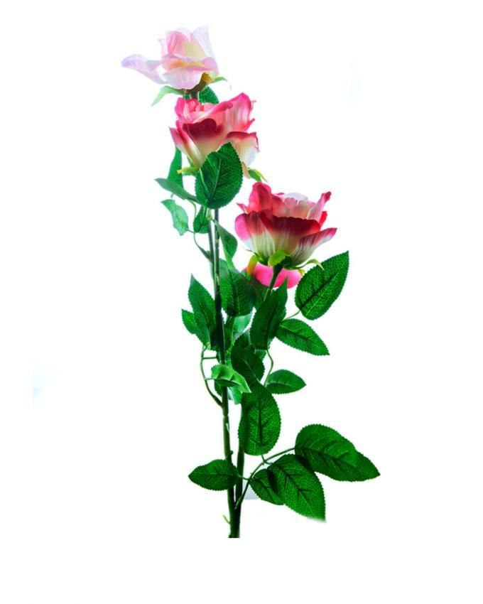 ZR116 - Double Shaded Rose Long Stemp Satin - Pink & Green
