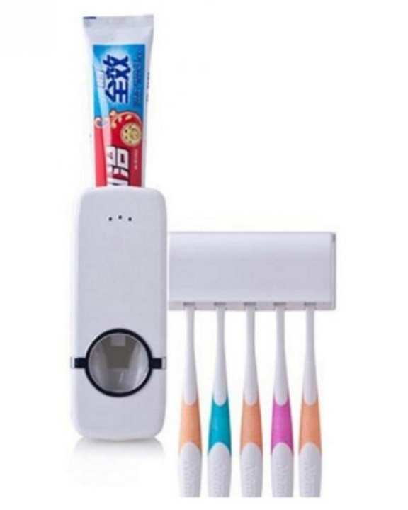 Toothpaste Dispenser With Tooth Brush Holder - White