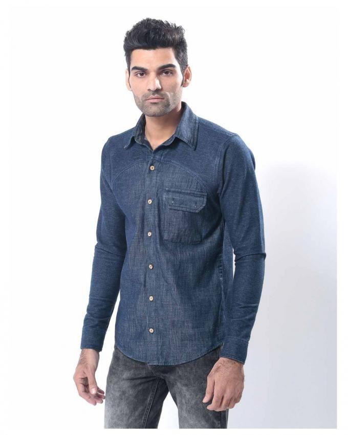 Dark Blue Denim Shirt for Men