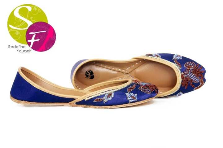 Blue Leather Scorpion Khussa for Women