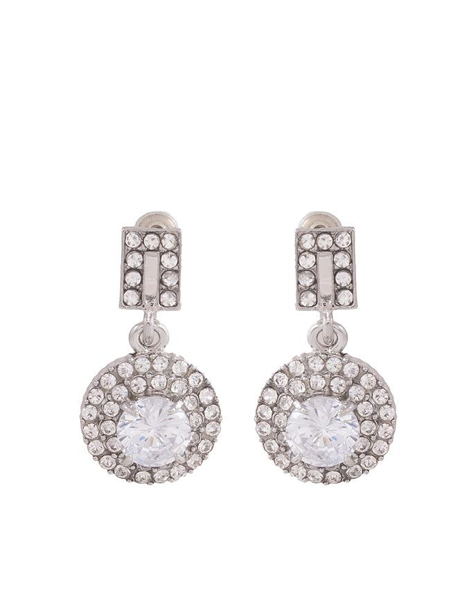 Silver Rhodium Zirconic Earrings for Women - J-107
