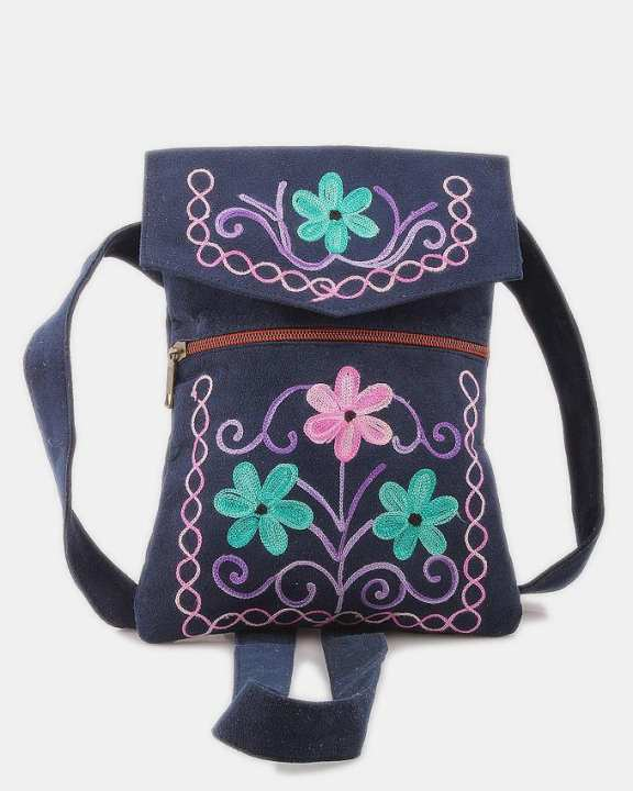 BG-SU-BL-SF-PP-P1 - Suede Leather - Passport Bag with Multi color Embroidery - Black
