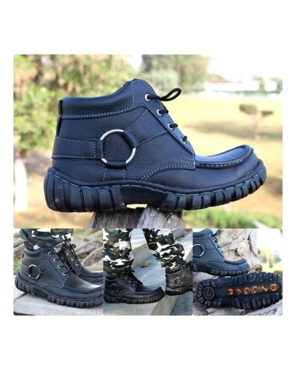 Black High-Top Boots For Men