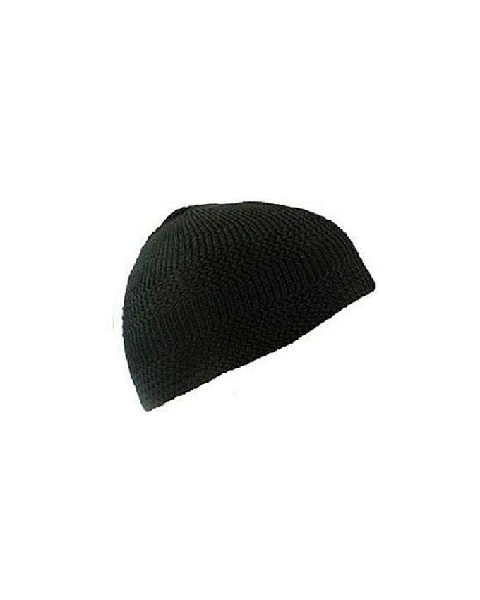 74b96eb9eb0 Product details of Plain Black - Cotton Stretch Knit One-Size Namaz Kufi  Hat Topi Skull Cap - Comfortable Fit
