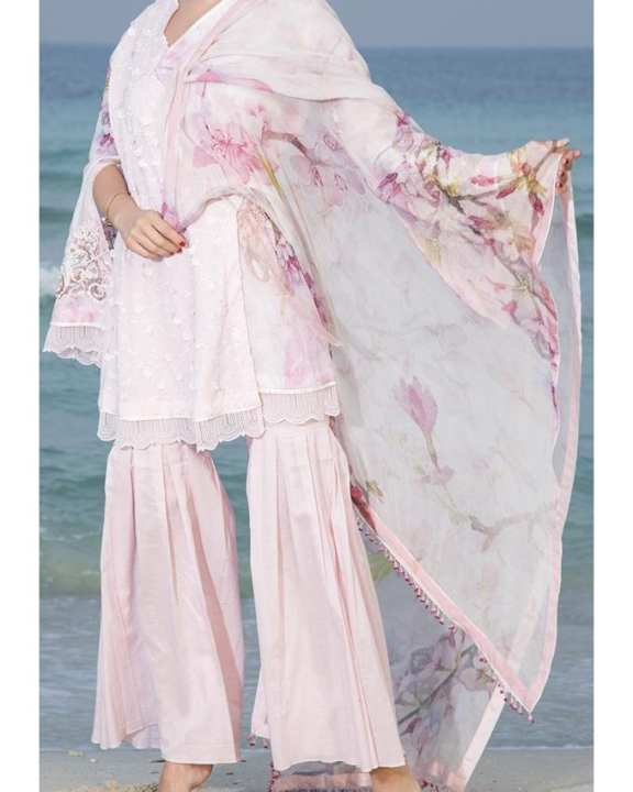 Pink SCHIFFLY Unstitch Suit For Women - Spring Summer Collection Vol.01 2018