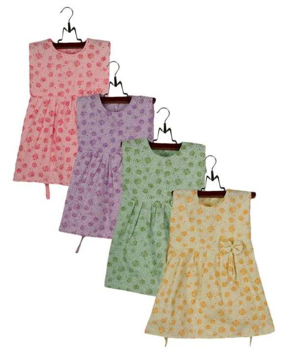 Pack of 4- Multicolor Floral Print Cotton Frocks For Baby