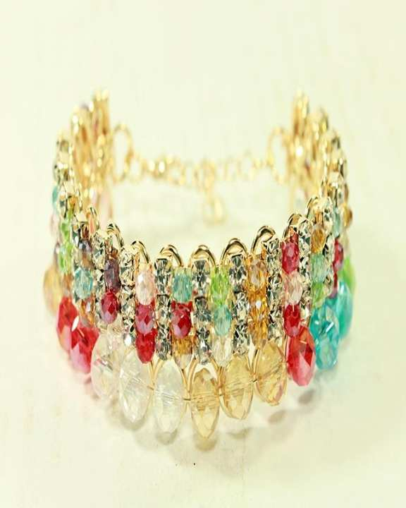 Golden bracelet with Multi Colour beads and stones