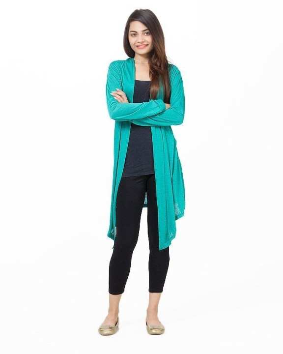 Sea Green Viscose Shrug For Women