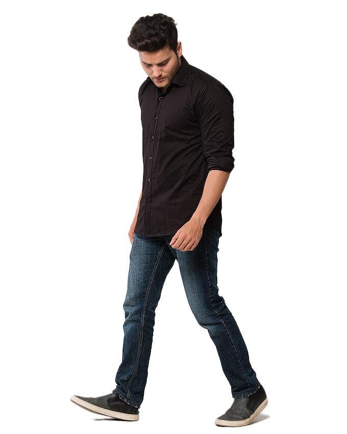 Black Cotton Oxford Shirt for Men - EPS22