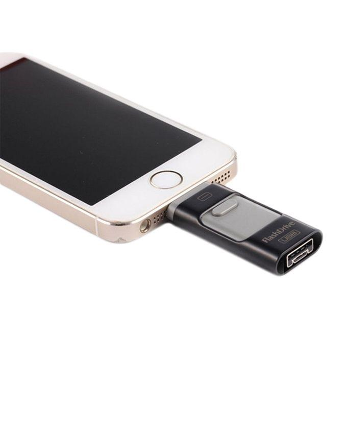 3-in-1 - 32GB OTG Flash Drive for Android, iPhone & Laptops - Black