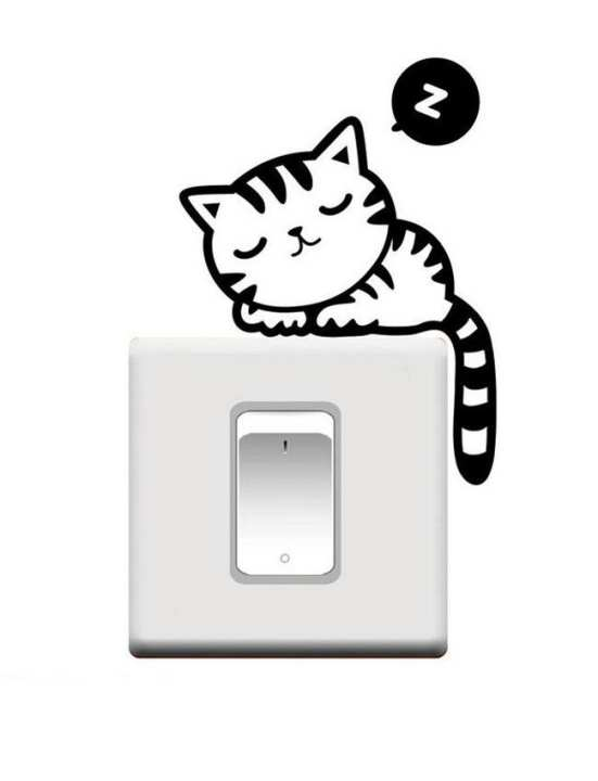Cute Cat Switch Sticker - Wall Decoration Vinyl Decal