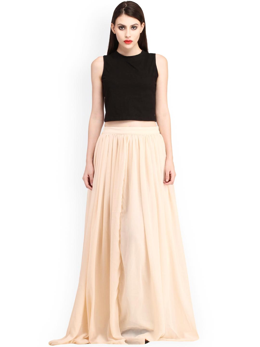 Beige Long Maxi Skirt For Women