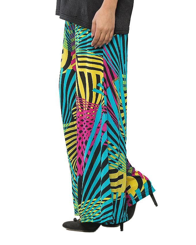 Multi Color Lycra Printed Palazzo for Women - GOL-WMP-962