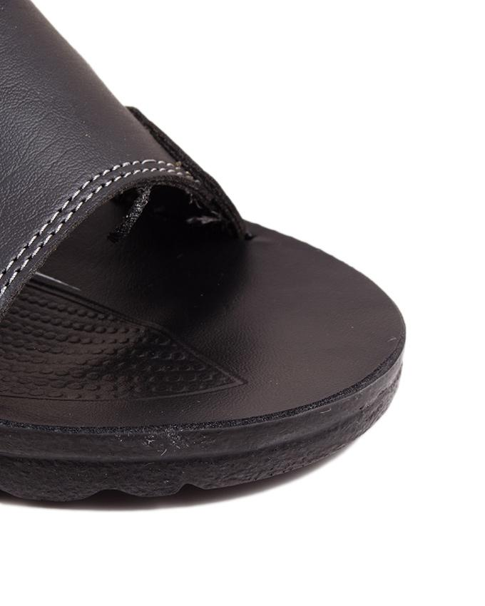 Black Synthetic Leather Slippers For Men - A4239-BLACK