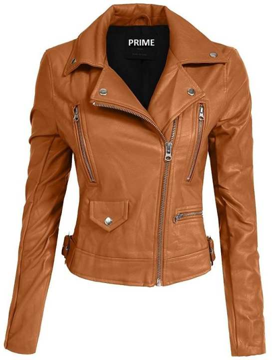 Brown Ladies Pu Leather Jacket Women NPL-01