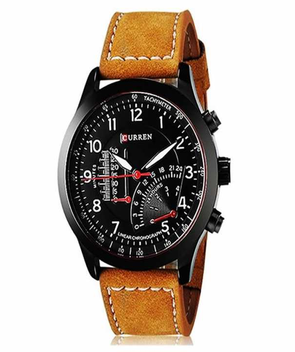 Brown Leather Analog Wrist Watch - Brown