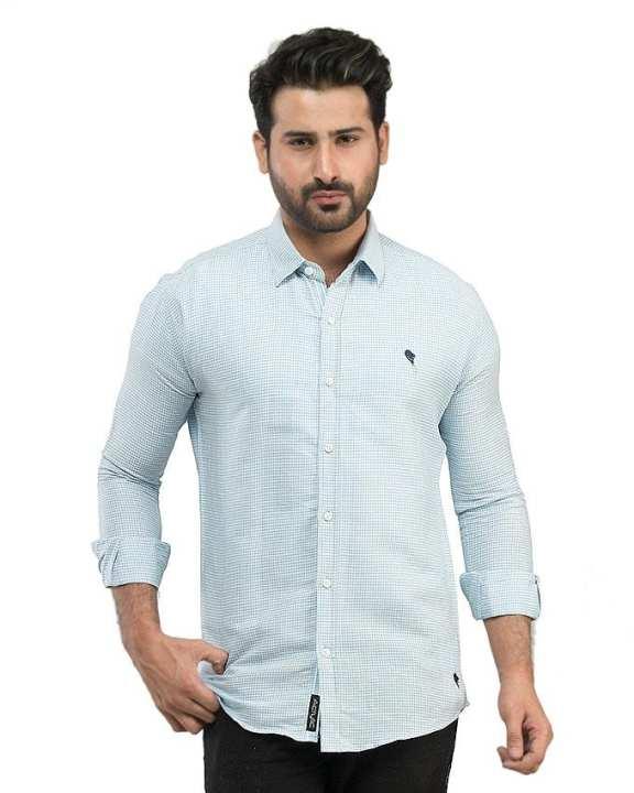 Light Blue Narrow Checkered Cotton Casual Shirts For Men
