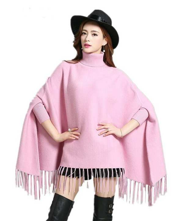 Light Pink Poncho For Women