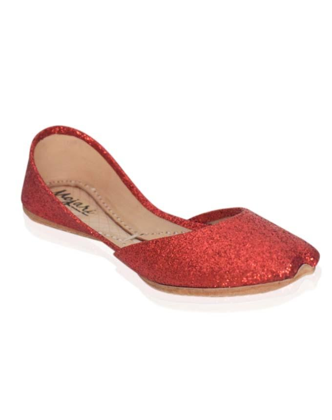 Red Shimmering Leather Khussa for Women