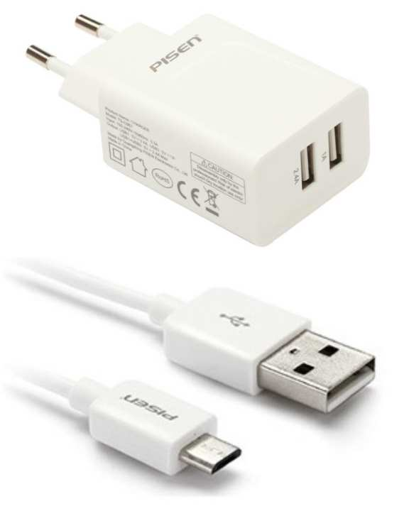 Pack of 2 - Micro USB 1000mm + Dual USB Wall Charger 2.4A - White