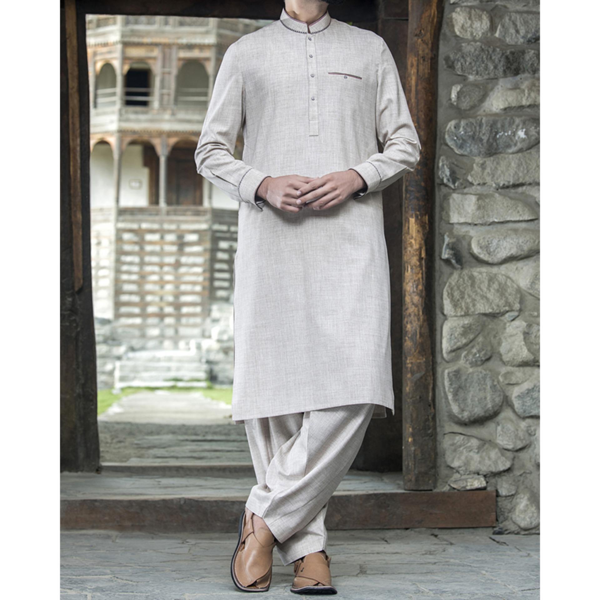 85c790d4b7 Junaid Jamshed Winter Collection 2018 FAWN Polyester Viscose Regular Kameez  Shalwar for Men