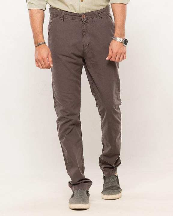 Dark Grey-Cotton-Stretch Men'S Chino-Slim Fit