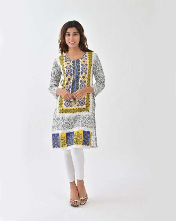 d'Orhni Casuals - Blue and White Sindhi Ethnic Printed Embroidered Kurti For Women - DC3-1XL