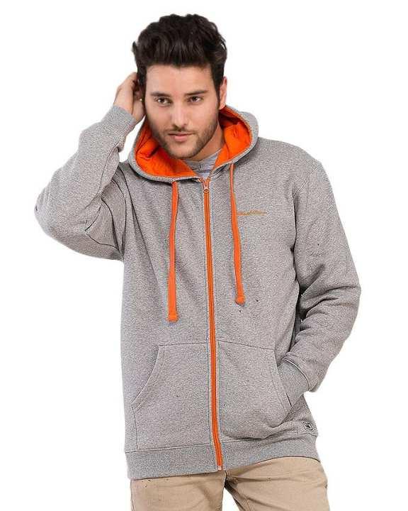 Grey - Poly Fleece - Hoodie for Men